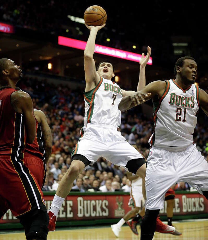 Milwaukee Bucks' Ersan Ilyasova (7) shoots during the second half of Game 3 in their first-round NBA basketball playoff series against the Miami Heat, Thursday, April 25, 2013, in Milwaukee. (AP Photo/Morry Gash) / AP