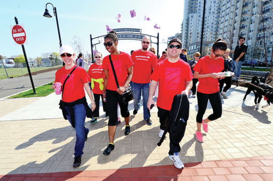 Maria Granda, Tamika Thomas, Charles Grindstaff, Tom Jovin and Maggie Bull walk as team Bank of America during the March of Dimes March for Babies fundraiser. / (C)2013, The Hour Newspapers, all rights reserved