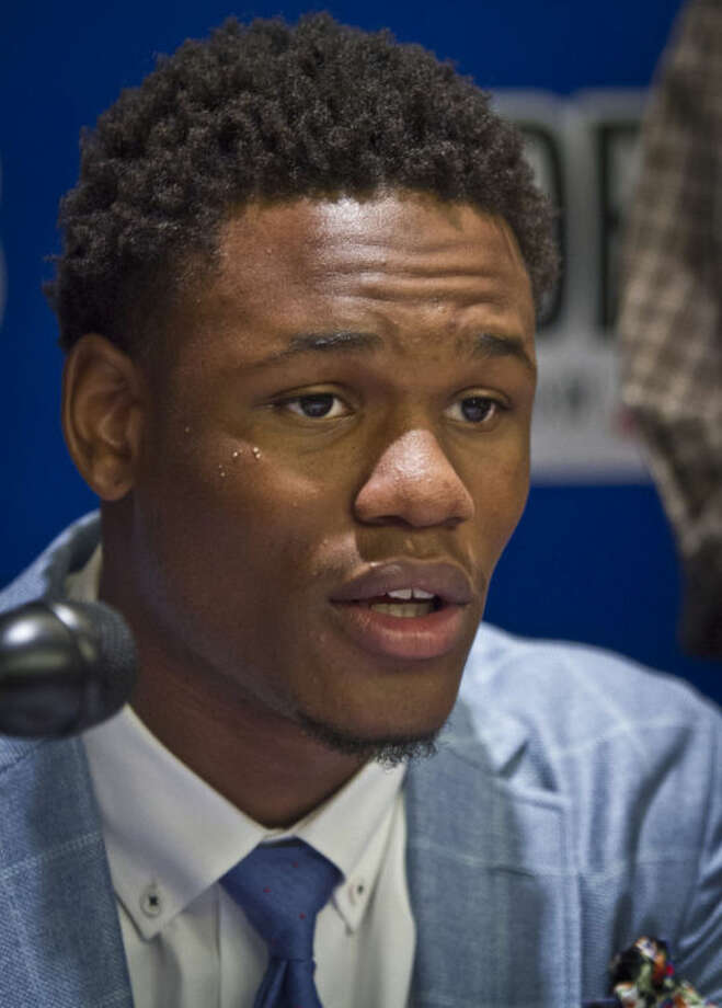Kansas guard Ben McLemore speaks during a press availability for NBA basketball draft prospects on Wednesday, June 26, 2013 in New York. (AP Photo/Bebeto Matthews)