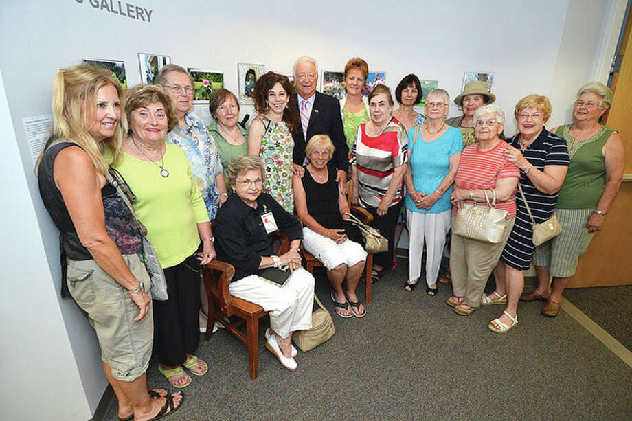 "Hour Photo/Alex von Kleydorff Mayor Richard Moccia with members of the Norwalk Garden club for the opening reception of ""The good deeds and beautification efforts of the Norwalk Garden Club."" at The Mayors gallery"