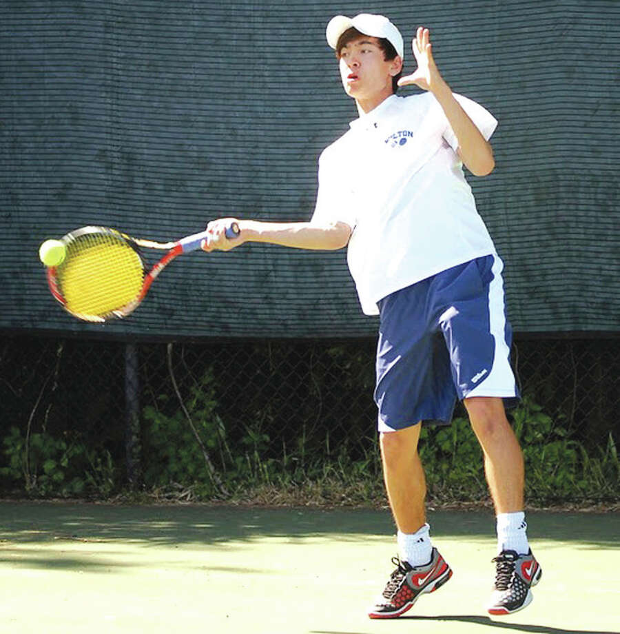 Contributed photoWilton junior Noah Farrell won his third straight CIAC Class L singles championship this spring, and has been named the MVP on The Hour's All-Area boys tennis team.