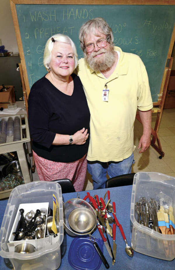 Hour photo / Erik TrautmannMiddlebrook Middle School teachers Catherine Hannah and James Abbot are retiring after 41 years of service.