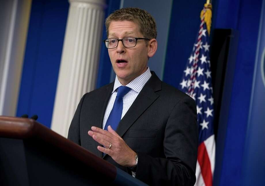 White House press secretary Jay Carney gestures during the daily press briefing at the White House in Washington, Monday, June 24, 2013. Carney said the U.S. assumes that Edward Snowden is now in Russia and that the White House now expects Russian authorities to look at all the options available to them to expel Snowden to face charges in the U.S. for releasing secret surveillance information . (AP Photo/Evan Vucci) / AP