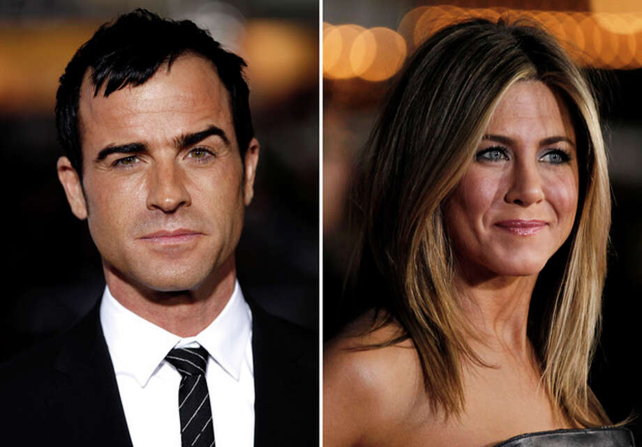 This combo made from Feb. 16, 2012 file photos shows Justin Theroux, left, and Jennifer Aniston. Aniston's rep, Stephen Huvane, on Sunday, Aug. 12, 2012 confirmed to The Associated Press that Theroux and the actress are engaged. It was first reported by People.com. (AP Photo/Matt Sayles, File) / AP