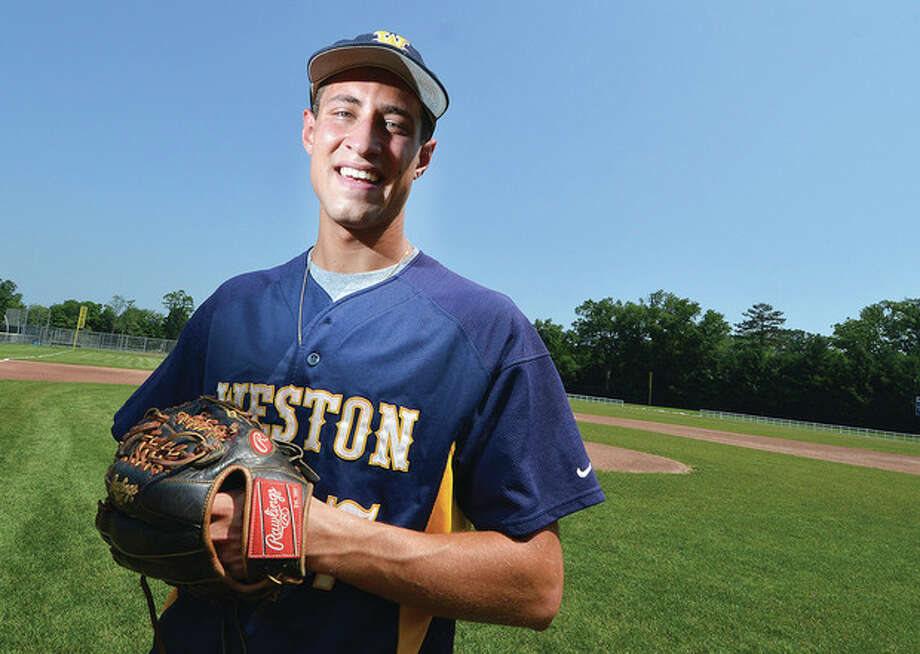 Hour photo/Alex von KleydorffWeston's Charles Ameer laid the foundation for a superlative senior season during his junior year, and then built on that success. The right-handed ace went 9-1 on the mound during his final year with the Trojans, and also compiled a .393 batting average and drove in 30 runs. The St. John's-bound Ameer is the MVP on The Hour's All-Area baseball team.