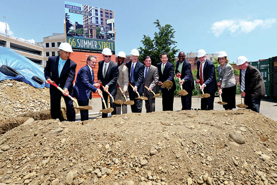 Gov. Dannel P. Malloy attends a groundbreaking ceremony at 66 Summer St., the soon-to-be home of Park Square West II, a 15-story luxury apartment complex in the heart of downtown Stamford. / (C)2013, The Hour Newspapers, all rights reserved