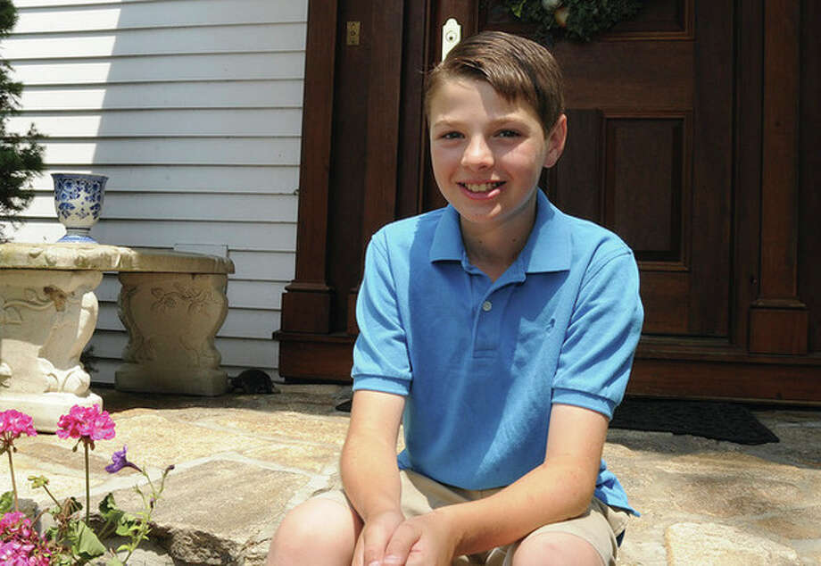 Harrison Zuckerberg, 11, at his home in Westport. He will be traveling to Washington D.C. July 8-11 and representing the state of Connecticut in a conference about Type 1 diabetes. Hour photo/Matthew Vinci