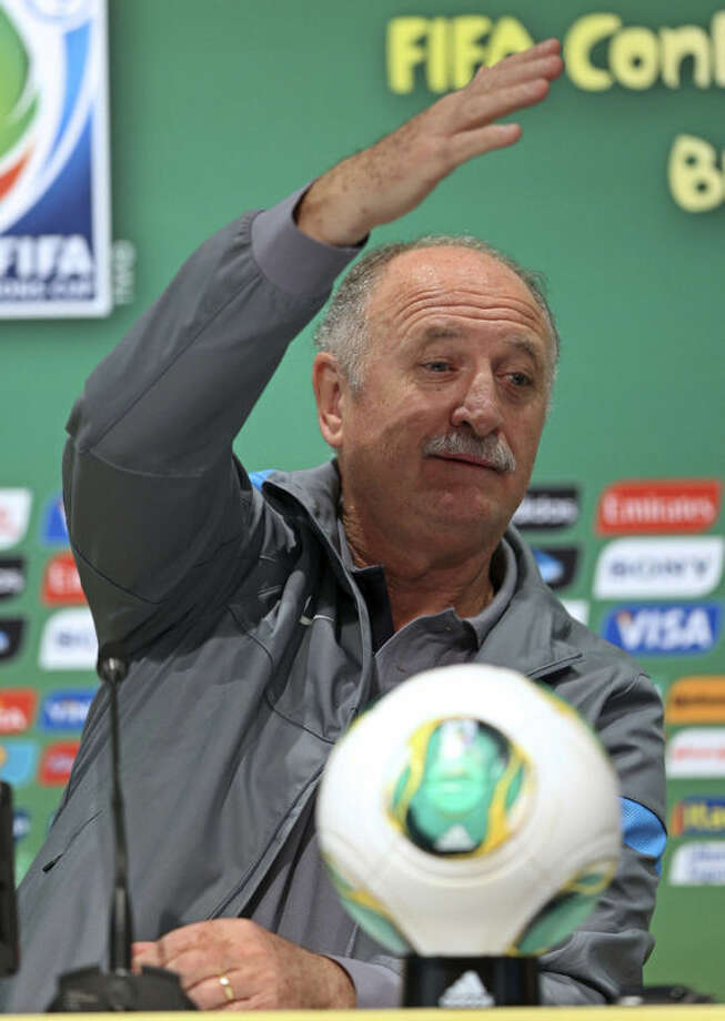 Brazil head coach Luiz Felipe Scolari attends a press conference at the Maracana stadium in Rio de Janeiro, Brazil Saturday, June 29, 2013. Brazil will face Spain on the final game of the soccer Confederations Cup on Sunday. (AP Photo/Andre Penner)