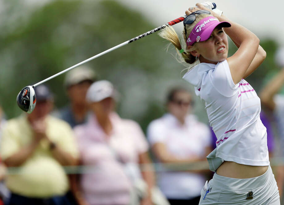 Jessica Korda tees off on the first hole during the third round of the U.S. Women's Open golf tournament at the Sebonack Golf Club Saturday, June 29, 2013, in Southampton, N.Y. (AP Photo/Frank Franklin II) / AP