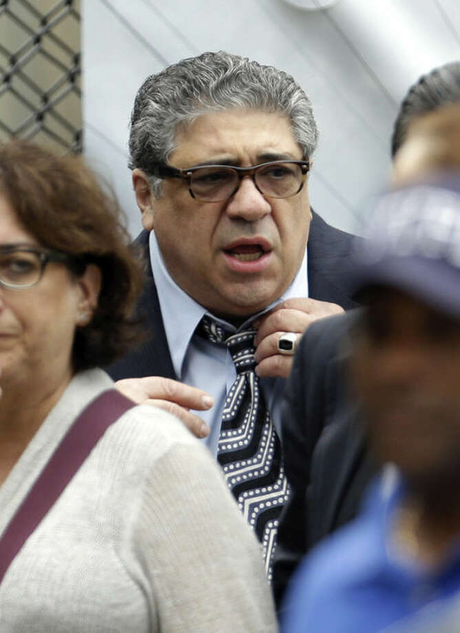 """Vincent Pastore arrives at Cathedral Church of Saint John the Divine during funeral services actor James Gandolfini, Thursday, June 27, 2013, in New York. Gandolfini, who played Tony Soprano in the HBO show """"The Sopranos"""", died while vacationing in Italy last week. (AP Photo/Julio Cortez)"""