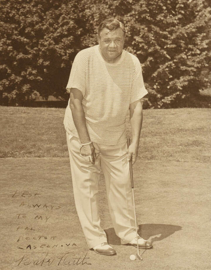 """Contributed photoBabe Ruth, the """"Sultan of Swat,"""" poses at Westport's Longshore Club Park in June 1946. He autographed this picture to Dr. Vito Caselnova Sr., whose home the Babe stayed in as a guest for a week."""
