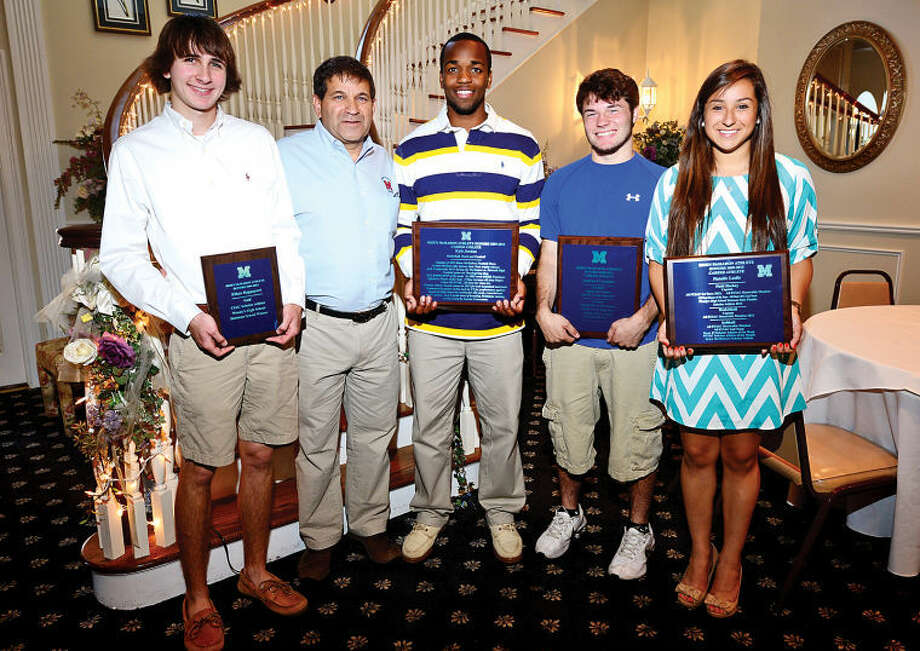 Scholar athlete Ethan Rappaport, Athletic Director Joe Maddafari, Career Athlete Kyle Jordan, Career Athlete Andrew D'Antonio ansd Scholar and Career Athlete Natlaie Leslie at the Brien Mcmahon High School Sports Awards Breakfast Wednesday Hour photo / Erik Trautmann