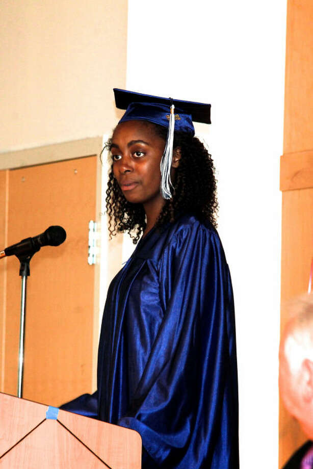 Salutatorian Tanasia Ticking speaks during Briggs High School's commencement ceremony held at Brien McMahon in Norwalk Thursday evening. Hour Photo / Danielle Calloway