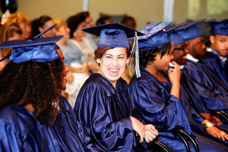 Yasmeen Ortiz smiles during Briggs High School's commencement ceremony held at Brien McMahon in Norwalk Thursday evening. Hour Photo / Danielle Calloway