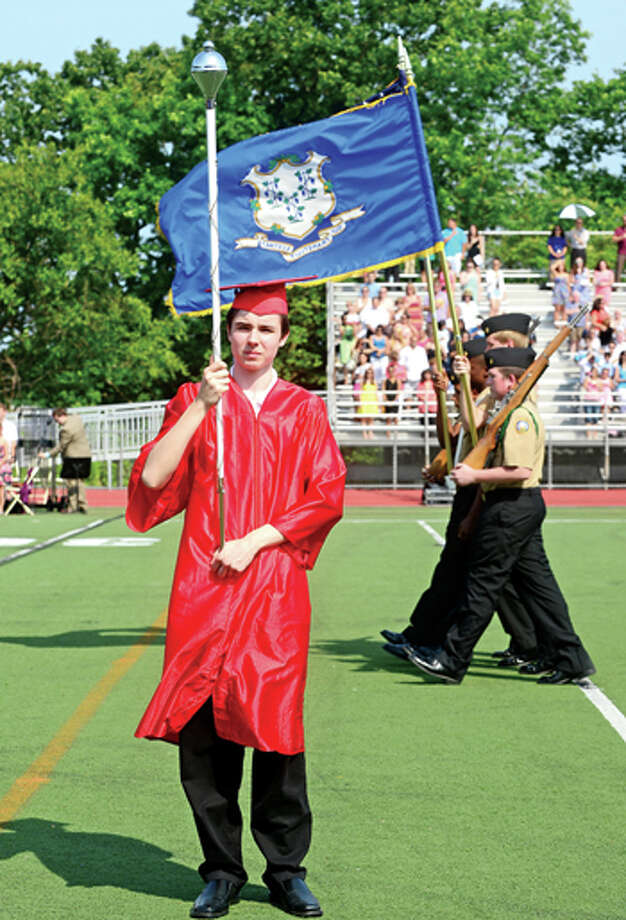 Brien McMahon High School Class of 2013 celebrates their graduation Friday. Hour photo / Erik Trautmann / (C)2013, The Hour Newspapers, all rights reserved