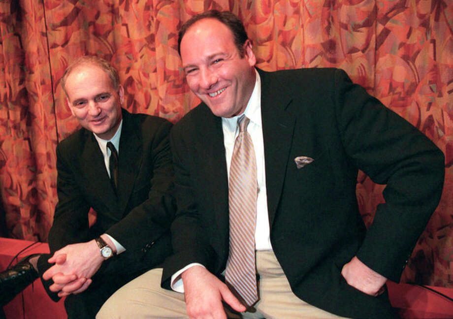 "AP Photo/Jill ConnellyIn this March 31, 1999 file photo, actor James Gandolfini, right, and David Chase, creator of the HBO television series ""The Sopranos"" pose together after a panel discussion at the Writers Guild in Beverly Hills, Calif. / AP"