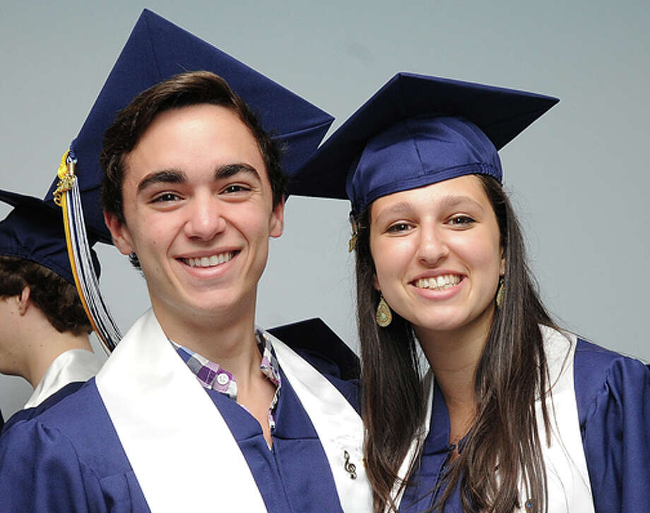 Tyler Gent and Rachel Samuels at the Staples High School graduation on Friday. Hour photo/Matthew Vinci