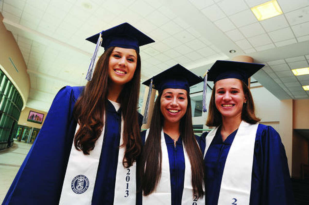 Amanda Giannitti, Sarah Gutman and Emily Troelstra at the Staples High School graduation on Friday. Hour photo/Matthew Vinci