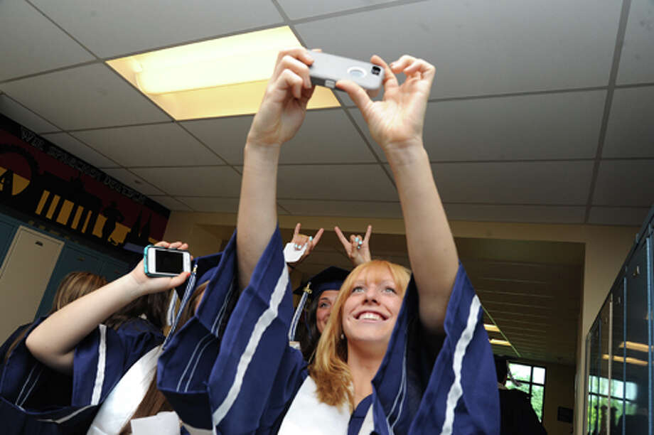 Page Cooper at the Staples High School graduation on Friday. Hour photo/Matthew Vinci