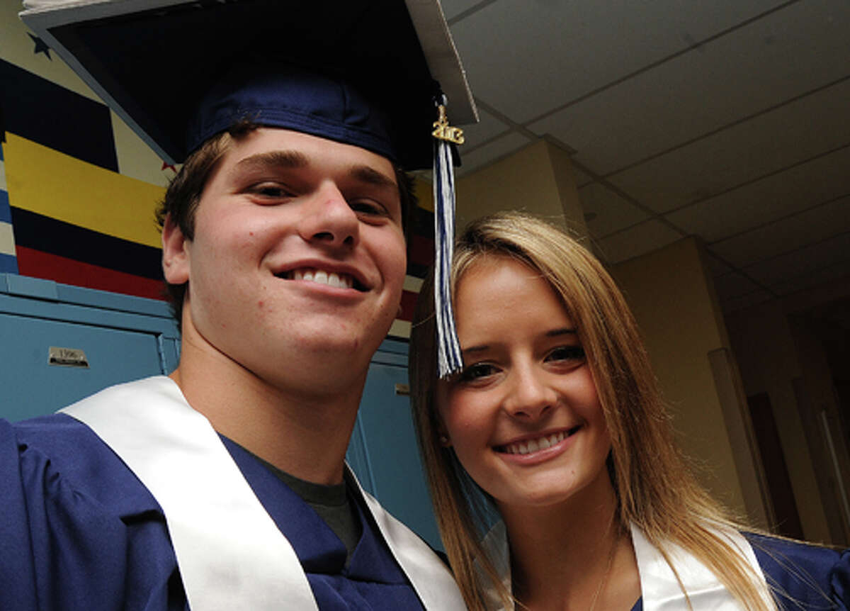 Jarred Lebi and Kate O'Brien at the Staples High School graduation on Friday. Hour photo/Matthew Vinci