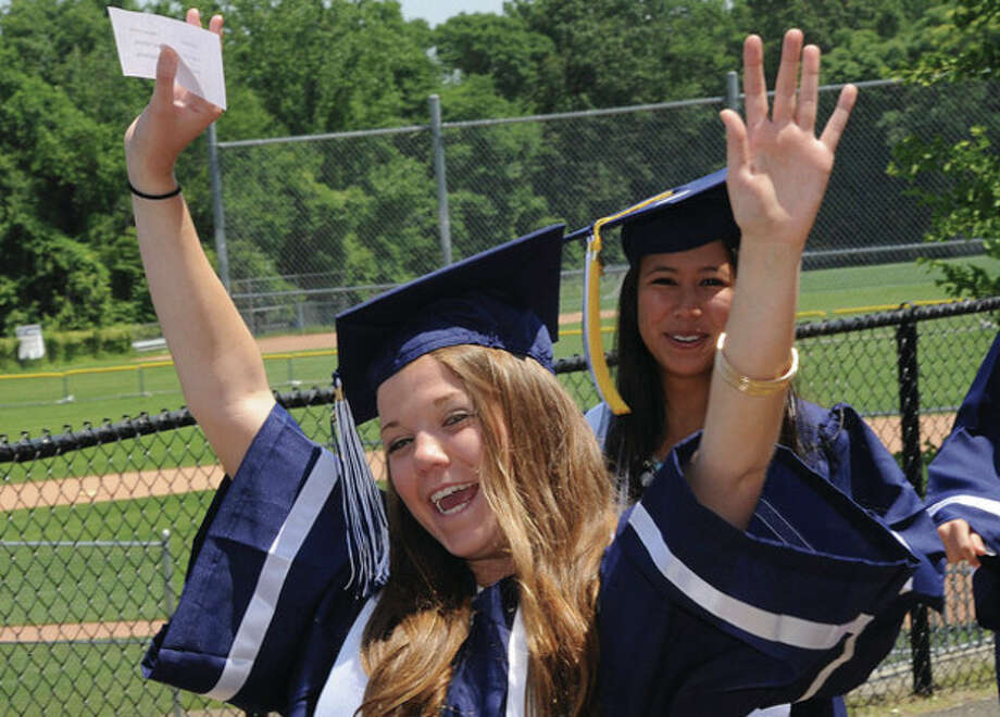 Ellie Mann at the Staples High School graduation on Friday. Hour photo/Matthew Vinci