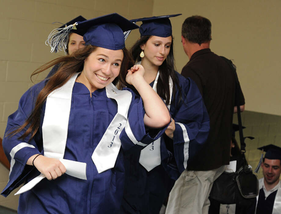 Zoe Ginsburg at the Staples High School graduation on Friday. Hour photo/Matthew Vinci
