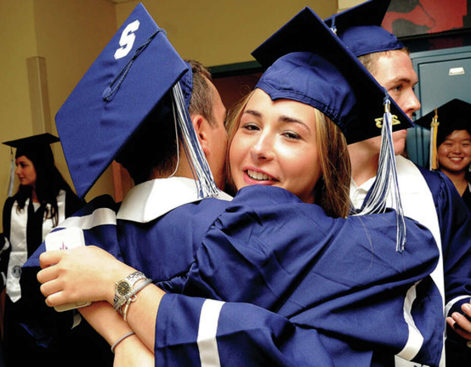 Callie Kole at the Staples High School graduation on Friday. Hour photo/Matthew Vinci