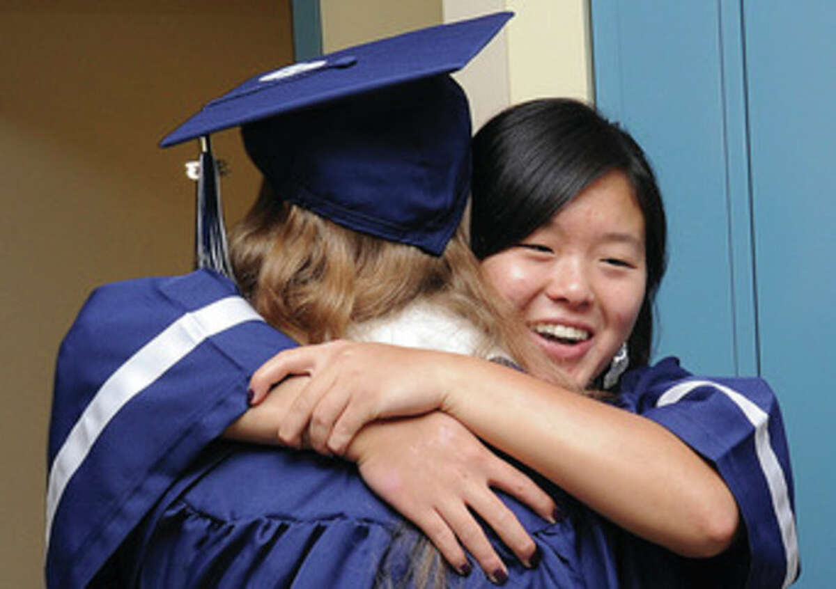 Kelly Chang at the Staples High School graduation on Friday. Hour photo/Matthew Vinci