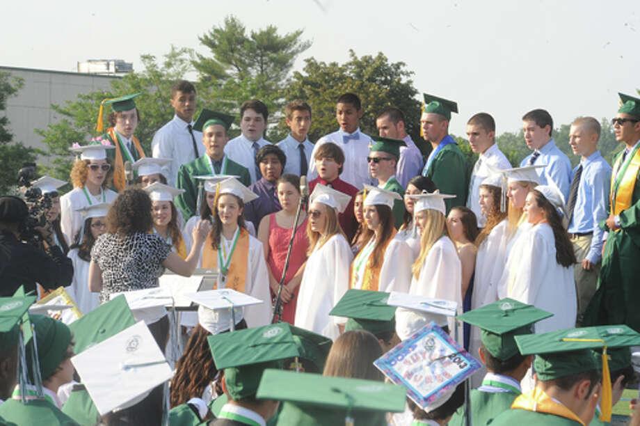 The Norwalk High School Choral Ensemble at the Norwalk High School graduation on Friday. Hour photo/Matthew Vinci
