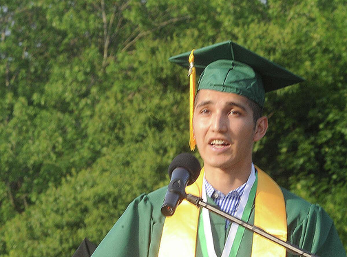 Edwin Rosales, Class President at the Norwalk High School graduation on Friday. Hour photo/Matthew Vinci