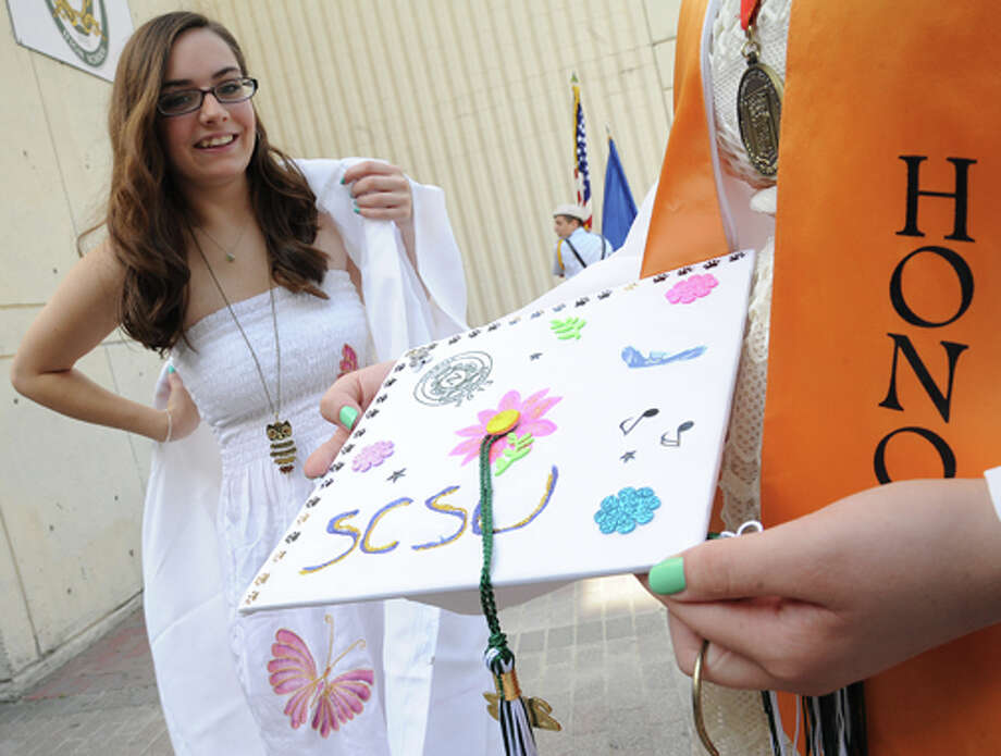 Rachel Falbo getting ready at the Norwalk High School graduation on Friday. Hour photo/Matthew Vinci