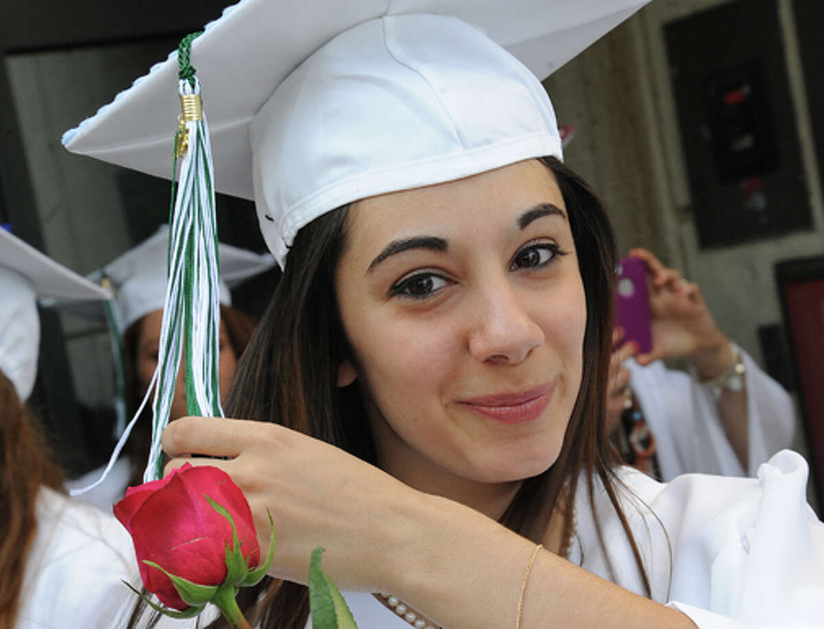 Cori Bonaddio at the Norwalk High School graduation on Friday. Hour photo/Matthew Vinci