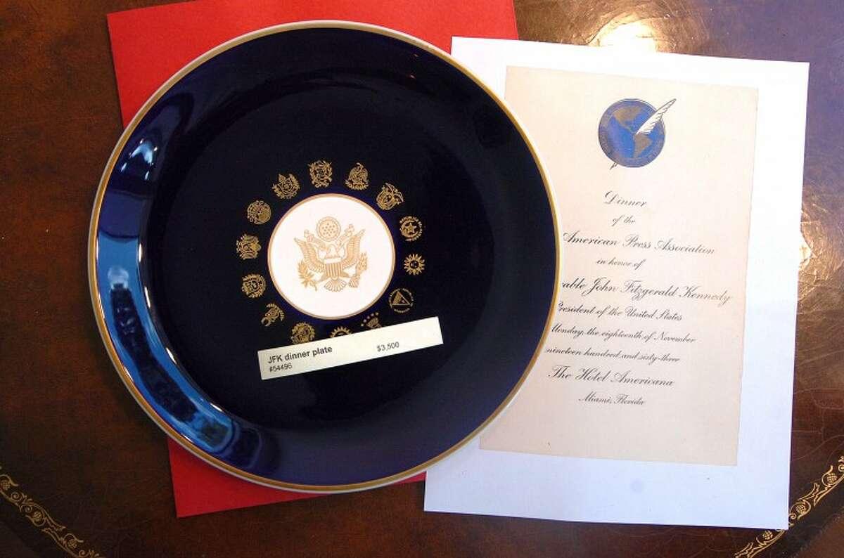Hour Photo/ Alex von Kleydorff. Dinner plate from the JFK White House 1965 at Rockwell Art Gallery