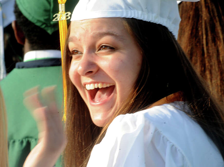 Ellie Hollaran at the Norwalk High School graduation on Friday. Hour photo/Matthew Vinci
