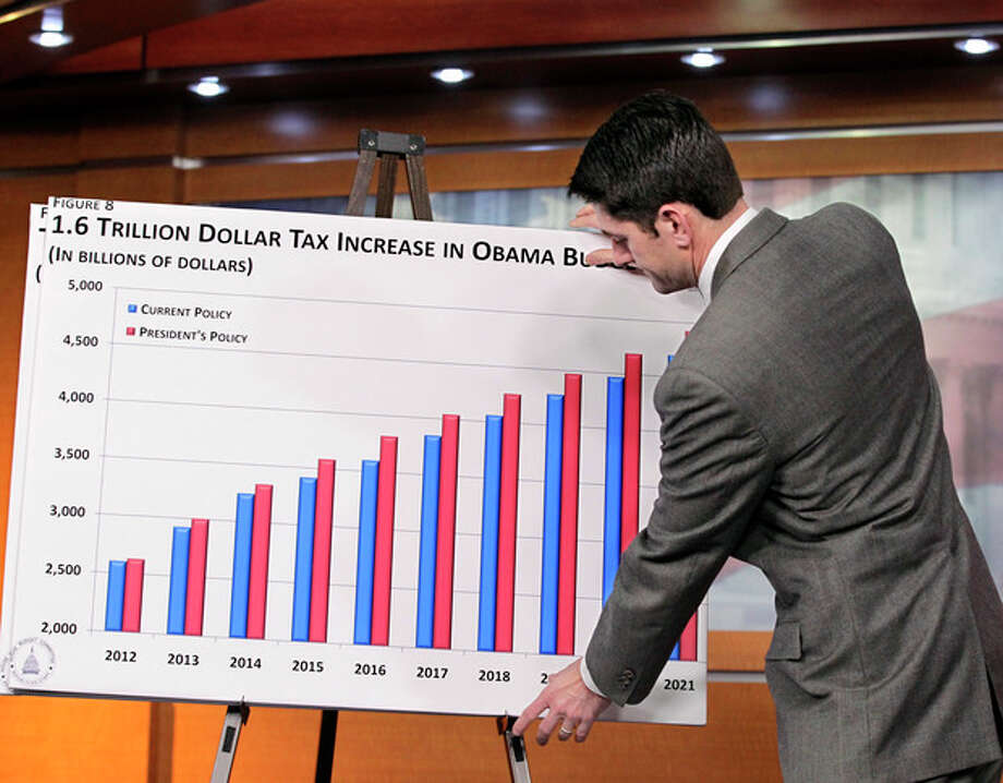 FILE - In this Feb. 14, 2011 file photo, Republican Vice Presidential candidate, House Budget Committee Chairman Paul Ryan, R-Wis., puts up a chart as he gives the GOP response to President Obama's budget submission for Fiscal Year 2012, on Capitol Hill in Washington. Paul Ryan traveled a perilous route to political stardom. While other lawmakers nervously whistled past trillion-dollar deficits, fearing to cut popular programs, he waded in with a machete and a smile. Ryan wants to slice away at Medicare, Social Security, food stamps and virtually every other government program but the military. (AP Photo/J. Scott Applewhite,File) / AP