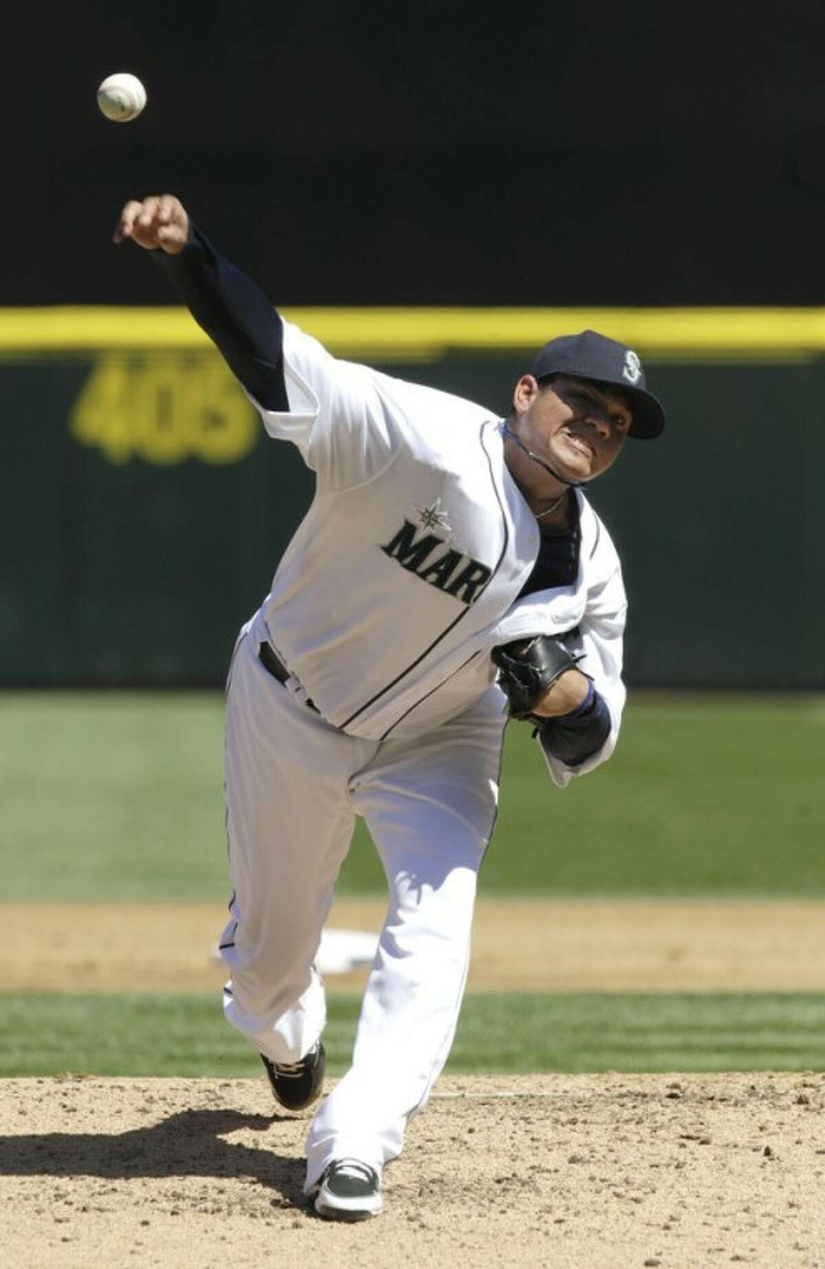 Seattle Mariners starting pitcher Felix Hernandez throws to a Tampa Bay Rays batter in the third inning of a baseball game, Wednesday, Aug. 15, 2012, in Seattle. (AP Photo/Ted S. Warren)