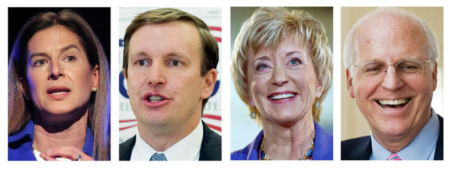 AP PhotosThis panel of 2012 photos shows the four Democrats and Republicans vying for their party nominations on Aug. 14, 2012, to contend in the November general election for the U.S. Senate seat being vacated by the retiring Sen. Joe Lieberman, I-Conn. Shown, from left, are Democrat former Secretary of the State Susan Bysiewicz, Democrat U.S. Rep. Chris Murphy, Republican former wrestling executive Linda McMahon and Republican former U.S. Rep Christopher Shays. / AP