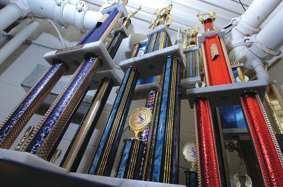 Hour Photo/ Alex von Kleydorff. Trophys at The Soo Bahk Do Karate studio in Wilton