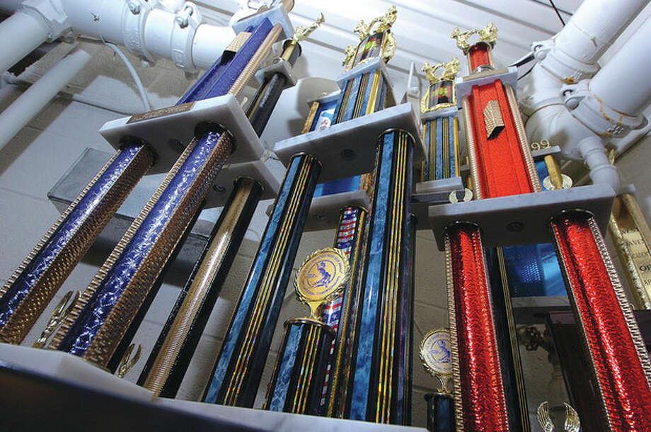 Hour Photo/ Alex von Kleydorff. Trophys at The Soo Bahk Do Karate studio in Wilton / 2012 The Hour Newspapers