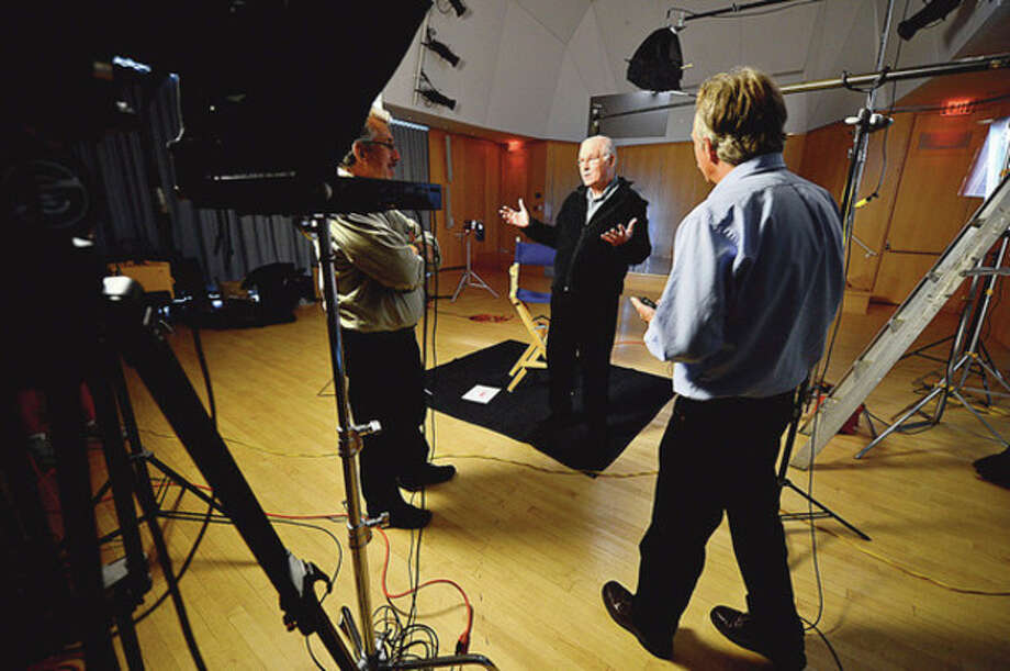 Wilton resident and reknown actor Charles Grodin films a public service announcement at the Wilton Public Library Thursday for Laurel House, a mental health facilty in Stamford.Hour photo / Erik Trautmann / (C)2012, The Hour Newspapers, all rights reserved