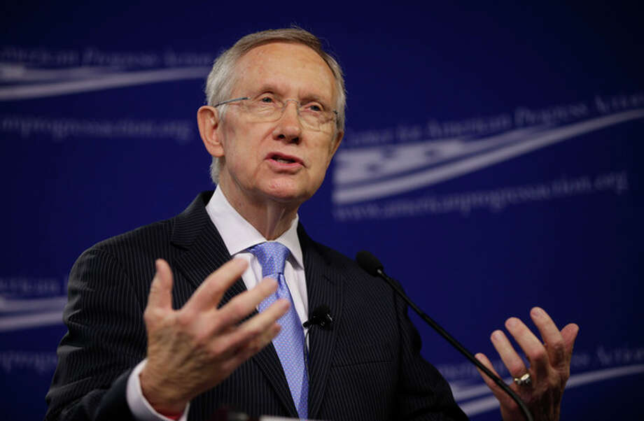 Senate Majority Leader Harry Reid, D-Nev., speaks at the center for American Progress Action Fund in Washington, Monday, July 15, 2013. Reid spoke about ending the current gridlock in the Senate that according to him is harming the nation's ability to address key challenges. (AP Photo/Pablo Martinez Monsivais) / AP