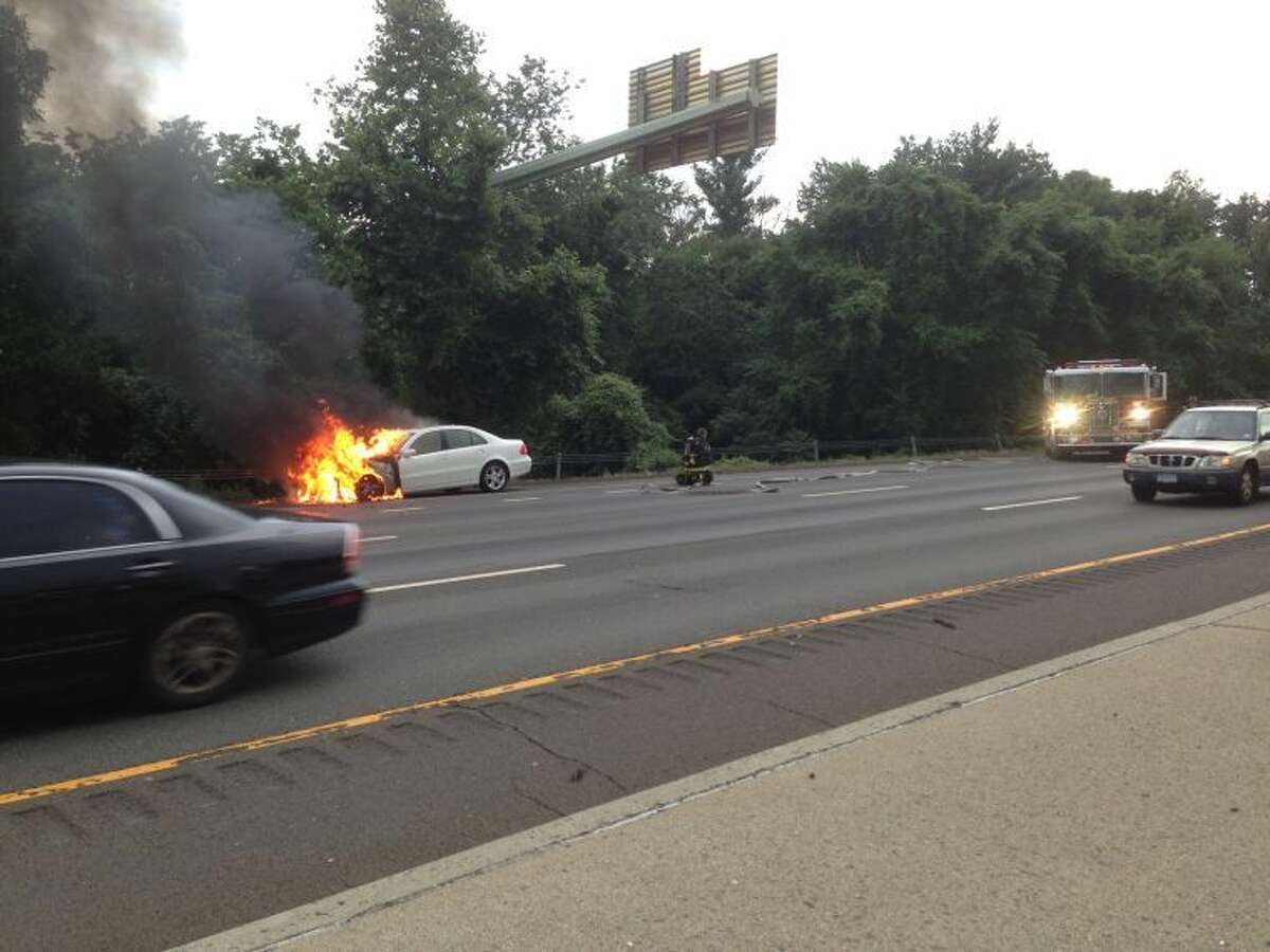 Contributed photo Westport and Fairfield Fire Departments responded to a car fire on I-95 northbound near exit 19 Thursday evening.