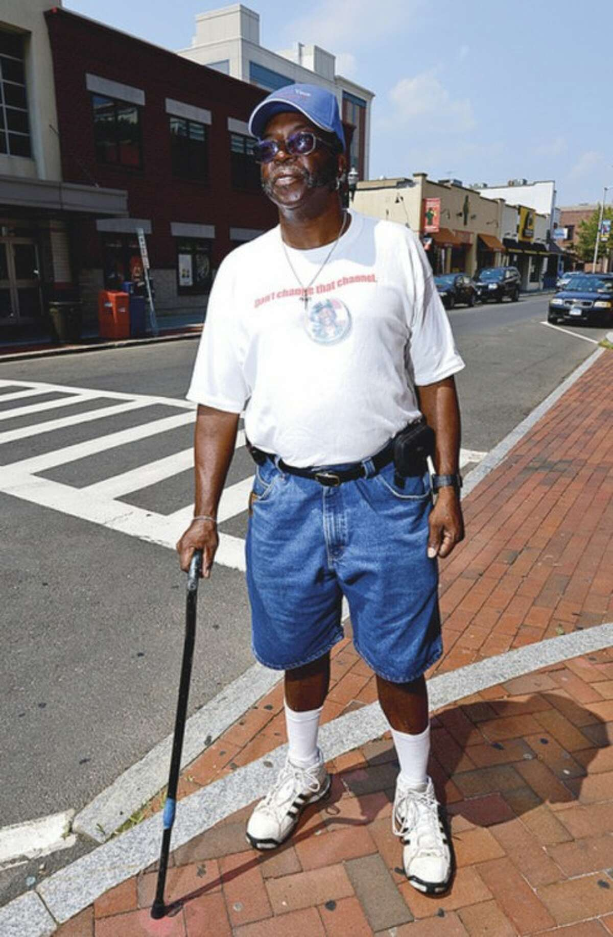 William Adams has walked numerous races around the area since 2000 with a cane. Hour photo / Erik Trautmann
