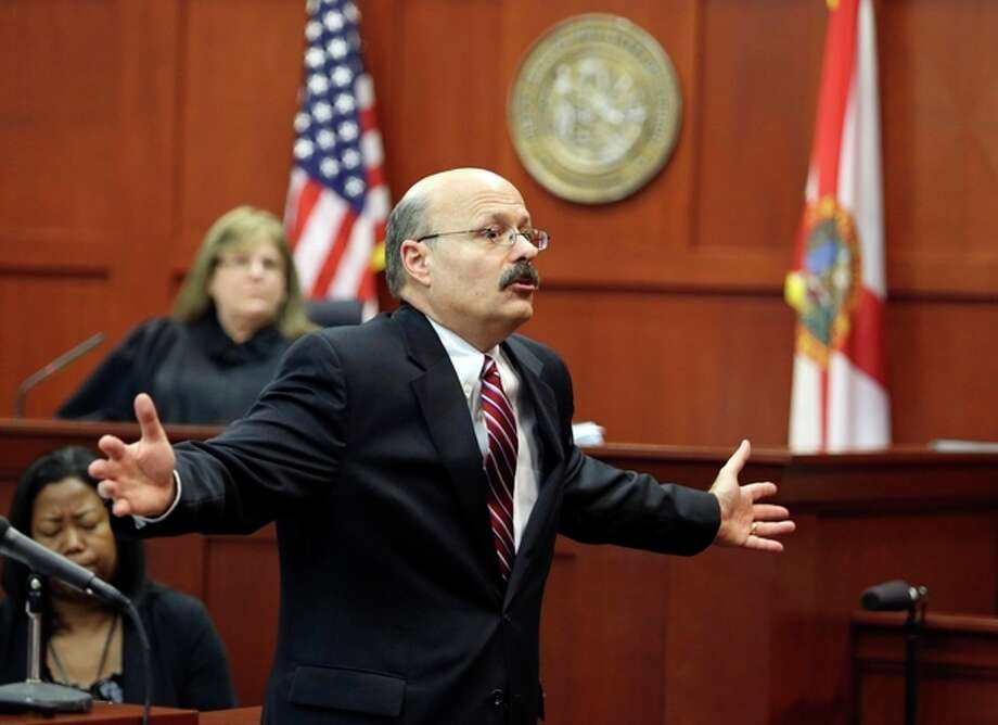 Assistant state attorney Bernie de la Rionda presents the state's closing arguments in George Zimmerman's trial in Seminole circuit court in Sanford, Fla. Thursday, July 11, 2013. Zimmerman has been charged with second-degree murder for the 2012 shooting death of Trayvon Martin. (AP Photo/Orlando Sentinel, Gary W. Green, Pool) / Pool Orlando Sentinel