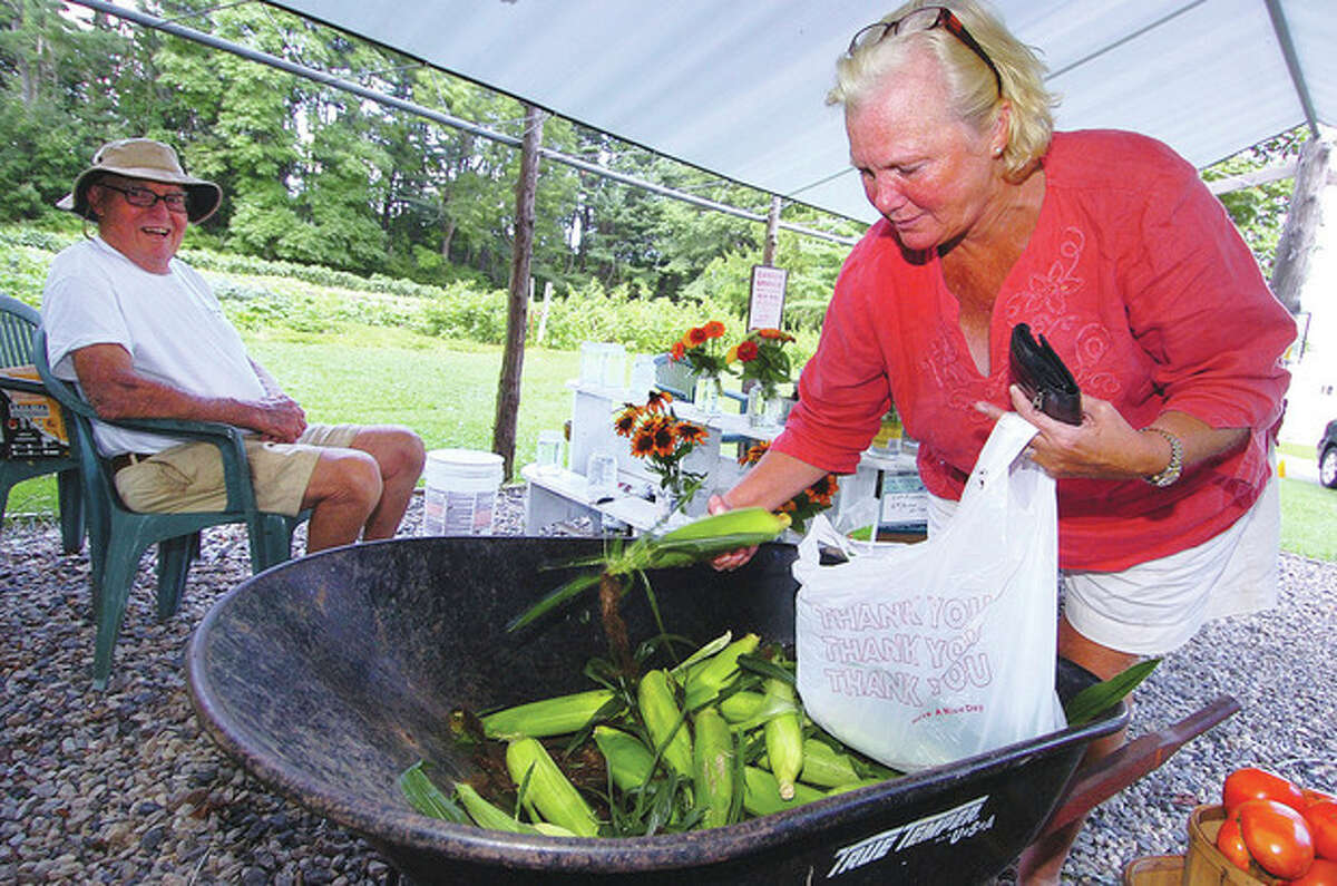 Hour Photo/ Alex von Kleydorff. Deb Stuart grabs some ears of fresh picked corn at Offingers farm on Chestnut Hill Rd in Wilton. Adrian Offinger enjoys a moment in the shade after stocking his farm stand with regular items suh as fresh Eggplant, Cucumbers, Ripe tomatoes, peppers, onions and beets also fresh cut flowers. He will harvest the next stand of sweet corn from his field as soon as it ripens.