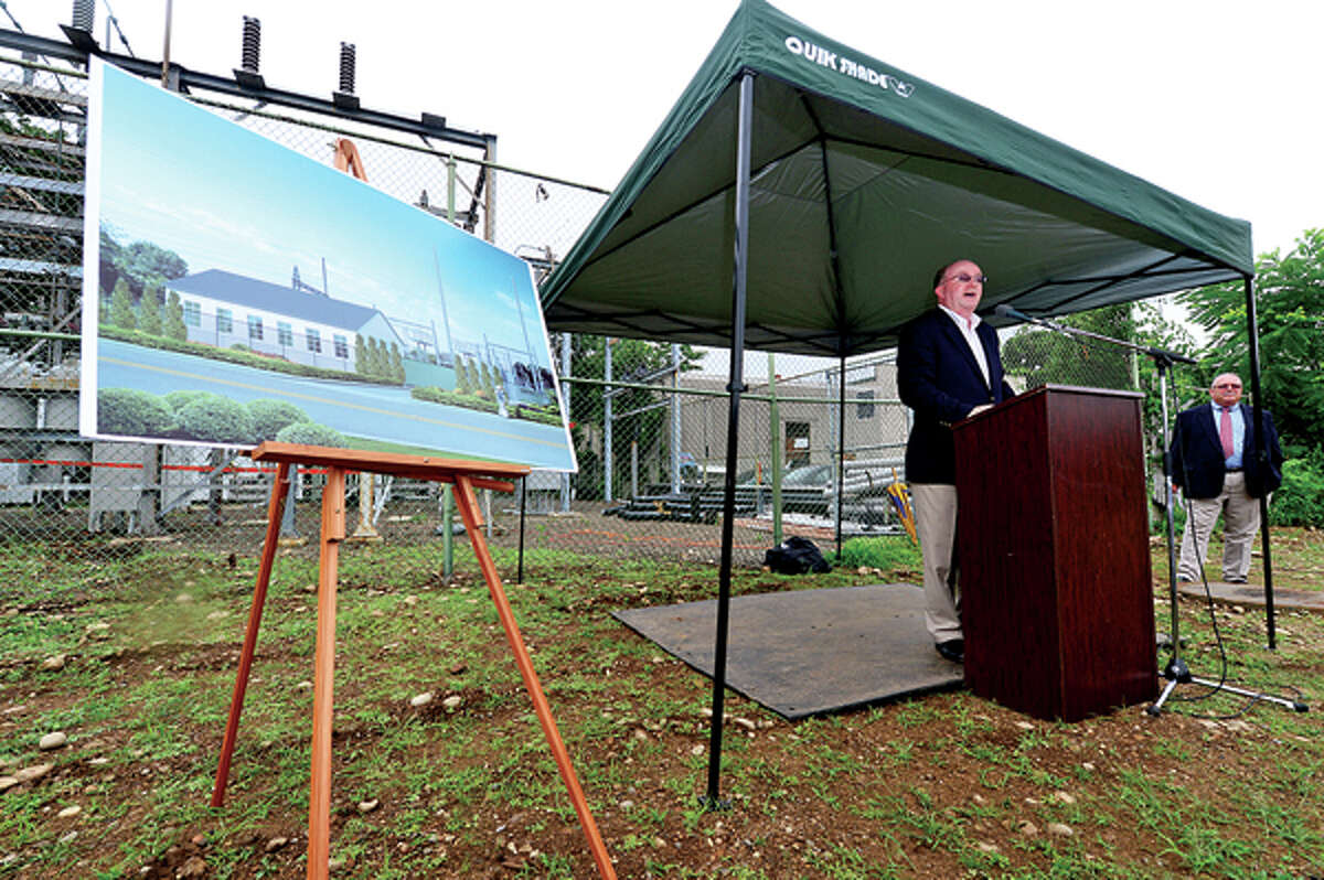 Third Taxing District General manager Jim Smith speaks during the Third Taxing District Electric Department groundbreaking ceremony Thursday for their $8-million substation at 6 Fitch St. in East Norwalk. Hour photo / Erik Trautmann