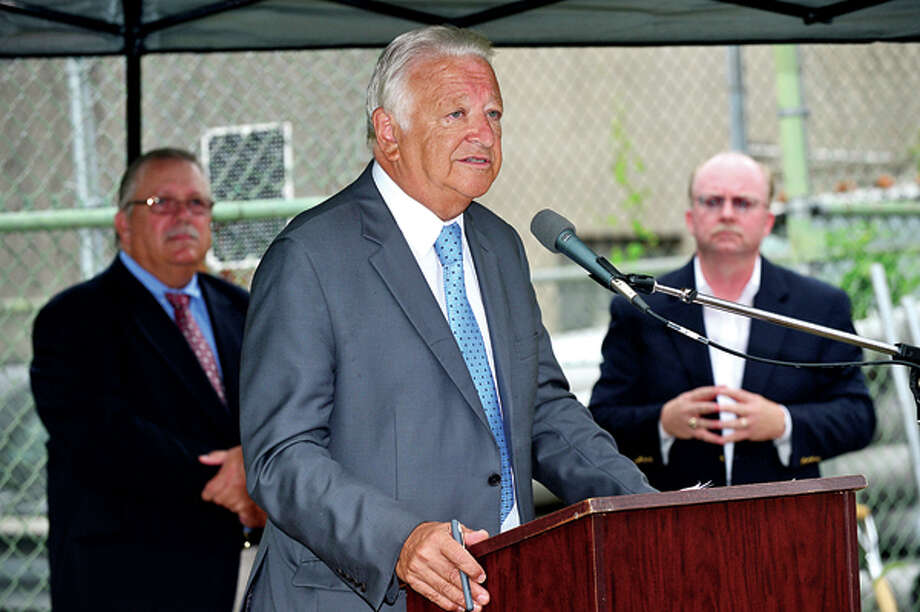 Norwalk Mayor Richard Moccia speaks during the Third Taxing District Electric Department groundbreaking ceremony Thursday for their $8-million substation at 6 Fitch St. in East Norwalk . Hour photo / Erik Trautmann / (C)2013, The Hour Newspapers, all rights reserved
