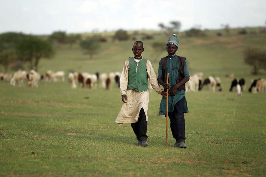In this picture taken Monday July 16, 2012, young Peul herdsmen stand by their cows in the green sandy plains near Bermo, Niger, 200 kms (125 miles) north of Maradi. For generations, nomads have lived in a precarious equilibrium with the sky above them. When the first rains come, they head north toward the Sahara desert, where the grass is said to be saltier, packed with minerals. They time their movements according to the clouds, waiting for the second major downpour, before making a U-turn to head back to the greener south. If they miscalculate, they can end up stranded. As the grass turns yellow, their animals become too weak to walk. (AP Photo/Jerome Delay) / AP