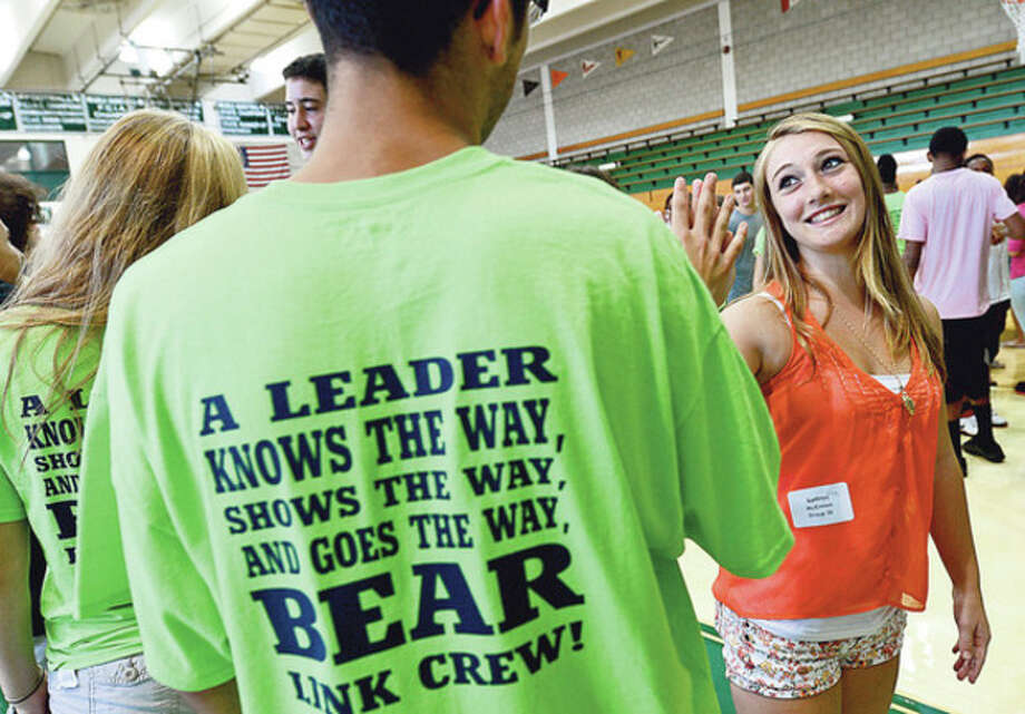 "85 members of this year's Norwalk High School senior class participated in a ""icebreaking"" exercise during an orientation program with over 140 incoming freshman including Kate McKinnon, as part of the new Link Crew program at the school. The program has seniors mentor and guide freshmen to be successful during the transition to high school.Hour photo / Erik Trautmann / (C)2012, The Hour Newspapers, all rights reserved"