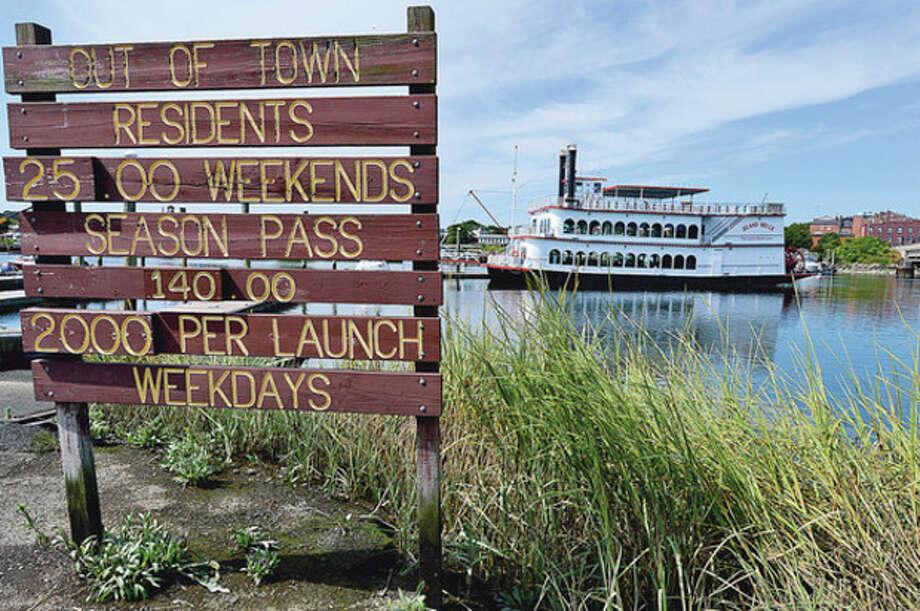 "Norwalk Harbor Management Commission will review Wednesday night the request from city to state to ""allow for unrestricted use by creational, municipal and commercial vessels"" at visitors docks at Veterans Memorial Park; request could be part of finding new home for Island Belle.Hour photo / Erik Trautmann / (C)2012, The Hour Newspapers, all rights reserved"